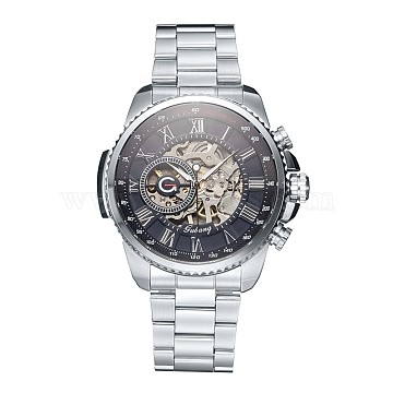 Alloy Watch Head Mechanical Watches, with Stainless Steel Watch Band, Stainless Steel Color, 220x20mm, Watch Head: 51x52x14.5mm, Watch Face: 39mm(WACH-L044-03A)