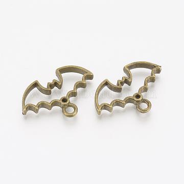 Alloy Open Back Bezel Pendants, For DIY UV Resin, Epoxy Resin, Pressed Flower Jewelry, Bat, Antique Bronze, 20x30x3.5mm, Hole: 2.5mm(X-PALLOY-T020-02AB)