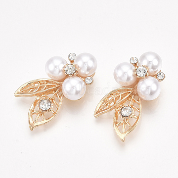Alloy Rhinestone Cabochons, with ABS Plastic Imitation Pearl, Leaf, Crystal, Light Gold, 31x27x9.5mm(PALLOY-T066-18KC)
