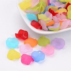 Mixed Color Frosted Transparent Acrylic Petal Pendants, 15x15x4mm, Hole: 1.5mm