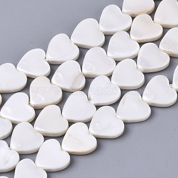 Natural Freshwater Shell Beads Strands, Heart, Linen, 8~9x8~9x2mm, Hole: 0.8mm; about 45~47pcs/strand, 14.06 inches~14.76 inches(35.7~37.5cm)(X-SHEL-N026-51A-01)