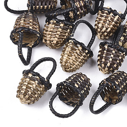 Handmade Reed Cane/Rattan Woven Pendants, For Making Straw Earrings and Necklaces, Basket, Black, 35~40x18~23mm(X-WOVE-T006-092B)