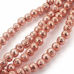 """Chapelets de perle en lave naturelle électrolytique, rond, Sandybrown, 8~9mm, trou: 1.2mm; environ 47 pcs/chapelet, 15.7"""" (40 cm)(G-E511-01E-8mm)"""