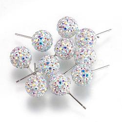 Cadeaux pour ses Saint Valentin sterling boucles d'oreilles strass cristal autrichien balle généalogiques pour fille, rond, 101 _crystal + ab, 17x8mm(Q286H021)
