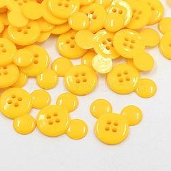 Boutons en plastique acrylique, boutons de couture, 4-trou, teint, tête de souris, or, 22x20x3mm, Trou: 1mm(X-BUTT-E062-06)