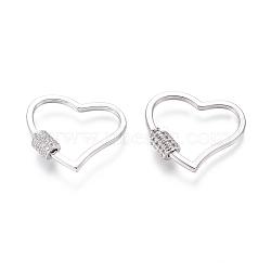 laiton micro pavé zircone cubique vis verrouillage mousqueton porte-clés, charm mousqueton, pour la fabrication de colliers, cœur, platine, 23x26x2 mm(ZIRC-I031-15P)