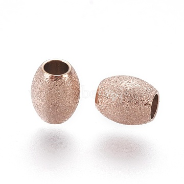 Vacuum Plating 304 Stainless Steel Textured Beads, Oval, Rose Gold, 6x5mm, Hole: 2.3mm(STAS-E455-06RG-5x6)