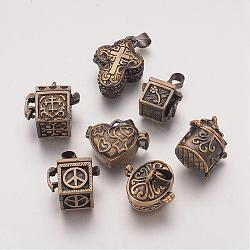 Pendentifs de boîte de prière, formes mixtes, bronze antique, 18~26x10~22x10~18mm, Trou: 4.5x6.5mm(KK-G189-M1)