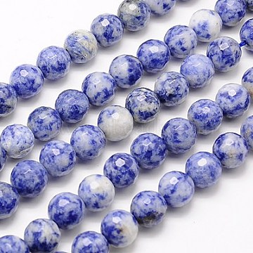 Natural Blue Spot Jasper Beads Strands, Faceted, Round, Blue, 6mm, Hole: 1mm; about 63pcs/strand, 15.55inches(G-G542-6mm-01)