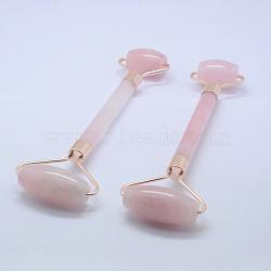 Outils de massage en quartz rose naturel, rouleaux de visage, avec les accessoires en alliage, 14.5~15.5x5.1~5.5x1.8~2 cm(G-K277-01A)