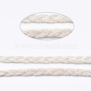 Burlap Ribbon, Hemp Ribbon, Jute Ribbon, for DIY Home Decoration and Gift Wrap, FloralWhite, 1/4inch(5~6mm); about 100yards/roll(91.44m/roll)(OCOR-TAC0009-01B)