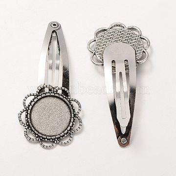 Iron Snap Hair Clip Findings, with Tibetan Style Alloy Flower Cabochon Settings, Cadmium Free & Lead Free, Antique Silver, Tray: 18mm; 60mm(X-MAK-J002-06AS)
