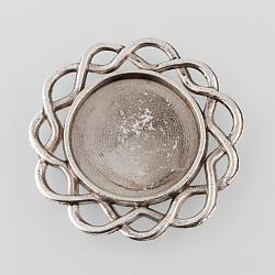 Supports alliage plateau à fleurs cabochon de style tibétain, argent antique, plateau: 20 mm; 34x2 mm(X-TIBE-M021-10AS)
