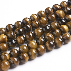 Round Tiger Eye Beads Strands, Grade AB+, DarkGoldenrod, 10mm, Hole: 1mm; about 40pcs/strand