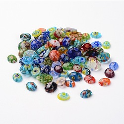 Cabochons de verre de millefiori ovale, couleur mixte, 10~12x8~10x2~5 mm; environ 200 g / sac(LK-P028-06)