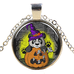 Halloween Theme Glass Pendant Necklaces, with Alloy Findings, Flat Round with Bear, Silver Color Plated, 17.7