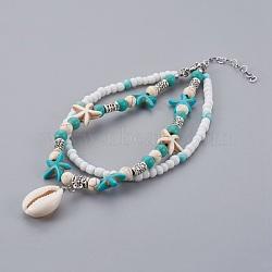 """Bracelets cheville cauris, avec des perles turquoises et des perles de rocaille en verre, Perles en argent tibétain  , Fermoir pince de homard en alliage de zinc, turquoise, 9-1/2"""" (24 cm)(AJEW-AN00244)"""