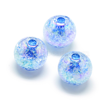 Crackle Style Acrylic Beads, AB Colour, Inside Color, Round, DodgerBlue, 20mm, Hole: 2.5mm(X-MACR-S825-20mm-F)
