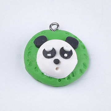 Handmade Polymer Clay Pendants, with Iron Findings, Panda, Platinum, White, 27x24.5x13.5mm, Hole: 1.5mm(X-CLAY-S093-13)