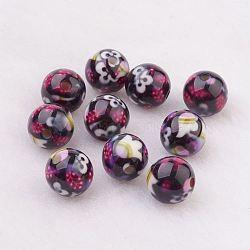 Perles en résine, avec motif de fleurs, rond, noir, 10mm, Trou: 2mm(GLAA-F049-A23)
