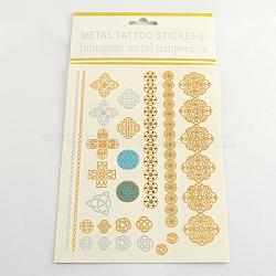 Autocollants en papier métallique de tatouages temporairese amovible d'art corporel cool en forme mixte, couleur mixte, 10~175x3~32mm(AJEW-Q102-04)