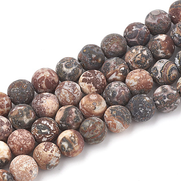 Natural Red Leopard Skin Jasper Beads Strands, Frosted, Round, 12mm, Hole: 1.5mm; about 30pcs/strand, 15.5inches(G-T106-109)