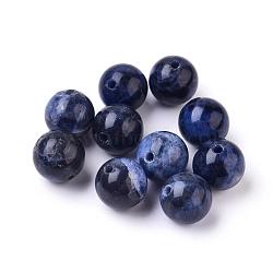Perles de sodalite naturelles, Grand-un, rond, 8mm, Trou: 1mm(X-G-E110-8mm-3)