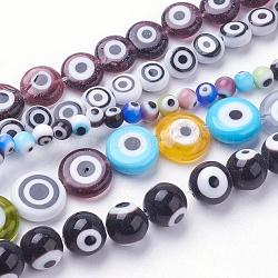 """Chapelets de perles vernissées manuelles, formes mixtes, couleur mixte, 4~10x3~8mm, trou: 1mm; environ 38~99 pcs/chapelet, 14.5""""~15.3"""" (35.5~41 cm)(LAMP-E017-06)"""