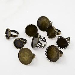 Laiton composants d'anneau réglable, accessoires compopsants tamon pour bagues, mixedstyle, bronze antique, 17~19mm(X-KK-G233-M05)