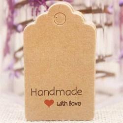 Étiquettes-cadeaux en papier, étiquettes de suspension, pour les arts et l'artisanat, pour le mariage, La Saint-Valentin, rectangle avec mot fait main avec amour, burlywood, 50x30x0.4mm, Trou: 5mm(CDIS-P001-H01-A)