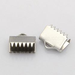 304 embout griffe de serrage en acier inoxydable, couleur inoxydable, 10x11x5mm, Trou: 2x4mm(STAS-N024-07)
