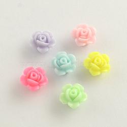 Perles acryliques opaques, fleur, couleur mixte, 13x8mm, Trou: 2mm(X-SACR-Q106-19)