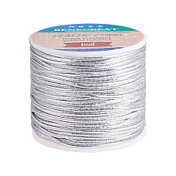 BENECREAT Round Elastic Cord, with Polyester Outside and Rubber Inside, Silver, 2mm; about 50m/roll, 1roll/box(EC-BC0001-10A-2mm)