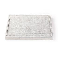 Бархатное и деревянное кольцо, прямоугольные, серые, 24x35x3 см(RDIS-R030-04)