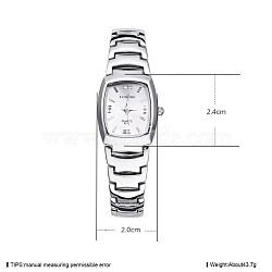 Women Casual Wristwatch, Alloy Quartz Watch, Waterproof, White, Silver Color Plated, 24x20mm(WACH-BB33980)