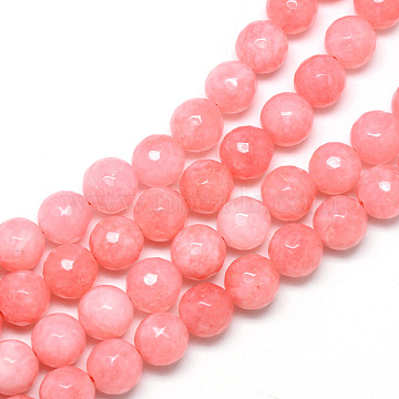 8mm LightCoral Round White Jade Beads