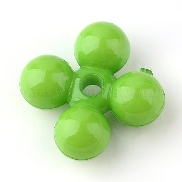 Opaque Acrylic Beads, Flower, Lime Green, 10.5x10.5x5mm, Hole: 2mm(X-SACR-Q133-C23)