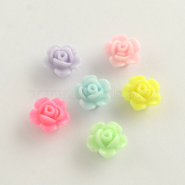 Opaque Acrylic Beads, Flower, Mixed Color, 13x8mm, Hole: 2mm(X-SACR-Q106-19)