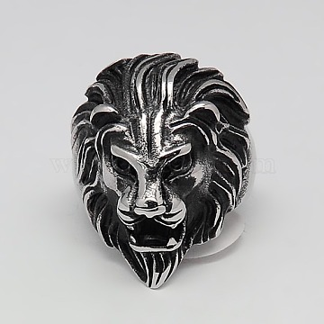 Valentines Day Unique Gift Ideas Retro Men's 316 Surgical Stainless Steel Wide Lion Rings, Antique Silver, 17~23mm(RJEW-F006-200)