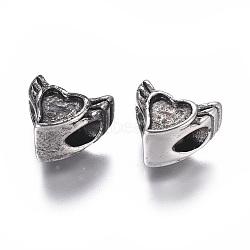 Supports d'émail en perle européenne en 304 acier inoxydable, Perles avec un grand trou   , cœur, argent antique, 10.5x12x8.5mm, Trou: 4.5mm(STAS-I120-88AS)