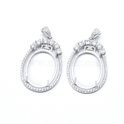 925 Sterling Silver Pendant Claw Cabochon Settings, Prong Settings, with Clear Cubic Zirconia, Oval, Platinum, Tray: 22x16mm, 33x21x3mm, Hole: 4x3mm(STER-I017-038P)