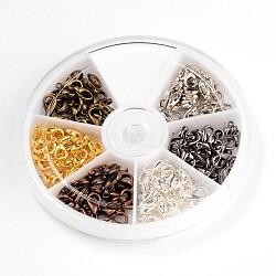 6 couleur fermoirs alliage de zinc pince de homard, couleur mixte, 12x6mm, trou: 1.5 mm; environ 20 pcs / compartiment, 120 pcs / boîte(PALLOY-X0023-A-B)