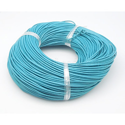 Cowhide Leather Cord, Leather Jewelry Cord, Dark Cyan, Size: about 2mm in diameter(X-WL-Q001-4)