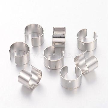 Platinum Color Brass Earring Findings, Lead Free and Cadmium Free, Size: about 10mm wide, 9.5mm long, 6mm thick, hole: 1mm(X-KK-1642-N)
