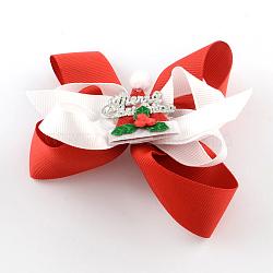 Noël gros-grain bowknot alligator pinces à cheveux, avec des clips de fer, rouge, platine, 80x100mm; clip: 56x8mm(PHAR-R167-14)