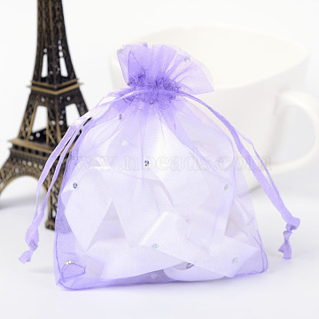 Rectangle Organza Bags with Glitter Sequins, Gift Bags, Medium Purple, 12x10cm(OP-R020-10x12-05)