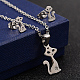 304 Stainless Steel Rhinestone Pendant Necklaces and Stud Earrings Jewelry Sets(X-SJEW-D070-16P)-1