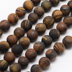 Natural Tiger Eye Beads Strands, Frosted, Round, 12mm, Hole: 1mm; about 32pcs/strand, 15.1inches