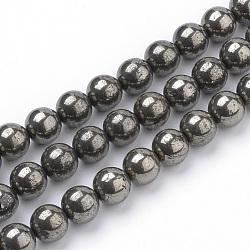 """Chapelets de perles de pyrite naturelle , rond, 10mm, trou: 1mm; environ 40 pcs/chapelet, 15.7"""" (39.8 cm)(G-S249-01-10mm)"""