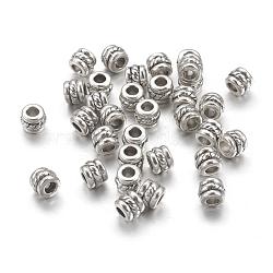 Séparateurs perles en alliage de style tibétain, colonne, argent antique, sans plomb et sans cadmium; 5x4 mm, trou: 2.2 mm; environ 80 pcs / 20 g(Y-LF0447Y)